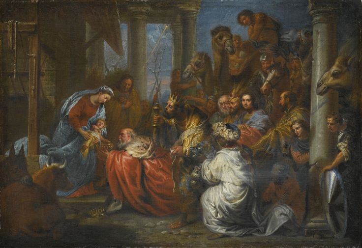 Flemish School, circa 1700 ADORATION OF THE MAGI oil on canvas 41.8 by 61.5 cm.; 16 3/8  by 24 1/4  in.: