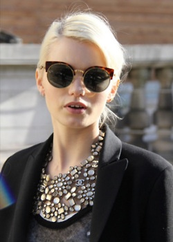 sunnies & a sparkly bib necklace // also love the bleached hair