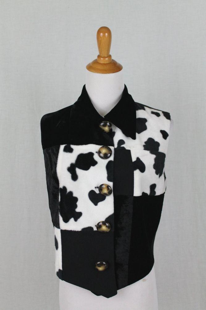 Vintage CONCINNO Cow Print Cowgirl Vest  Black & White Cashmere Wool Silk S #Concinno #Western