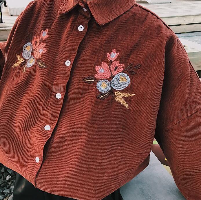 Boyfriend стиль цветочный вышивка вельвет рубашка женщины топы с длинным рукавом блузка свободные kawaii сорочка femme chemiseir mujer blusaкупить в магазине Lucky Star ClosetнаAliExpress