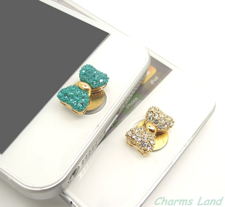 1PC Bling Bow Rhinestone Jewelry Apple iPhone Home Button Sticker for iPhone 4,4s,4g, 5 & iPad, iPhone Charm. $4.99, via Etsy. Too Cute!