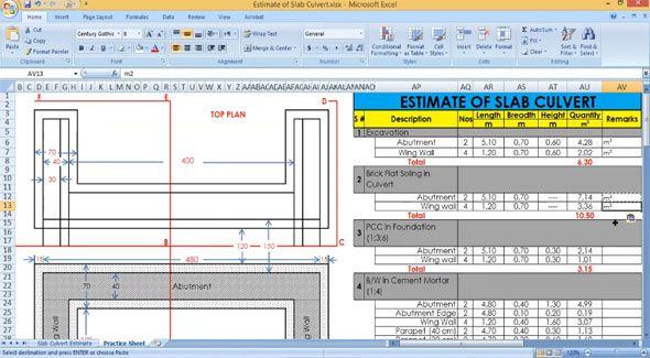 How to design a slab culvert through excel | 3d modeling