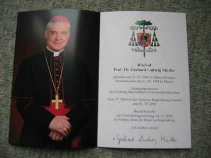 Bischof von Regensburg Prof. Dr. Gerhard Ludwig Müller - Autogramm!!! gebraucht kaufen bei Hood.de