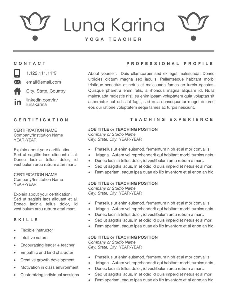 Yoga Resume Template for Mac & PC, Gym Resume Design for