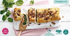 Recept voor spinaziestrudel met zongedroogde tomaten, geitenkaas, honing en pecannoten. #Lidl #Delicieux #Pasen #Strudel