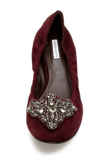 cute and unusual flat shoes   Loriana Jeweled Ballet Flat by Vera Wang//