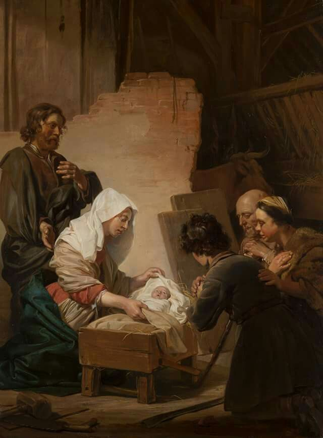 Jan de #Bray, The #Adoration of the #Shepherds, 1665 In the #stable in #Bethlehem, three #shepherds kneel worshipping the newborn baby #Jesus. #Haarlem family of #painters and #architects, and specialised in #portraits and #history #paintings.