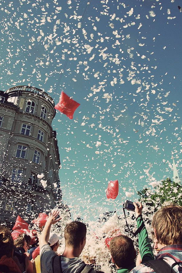 Pillow Fight - (Copenhagen, København, Danmark, Danish, Denmark, travel, Europe, city, capital, visit, beautiful, cool, awesome)