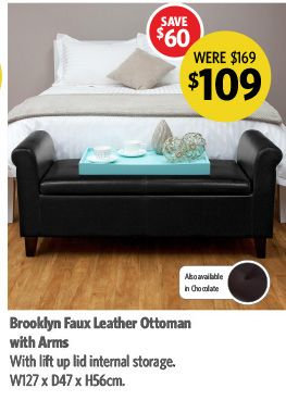 Brooklyn Faux Leather Ottoman with Arms