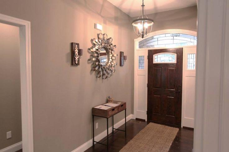 Foyer Door Colors : Foyer with two toned fiberglass entry door paint color