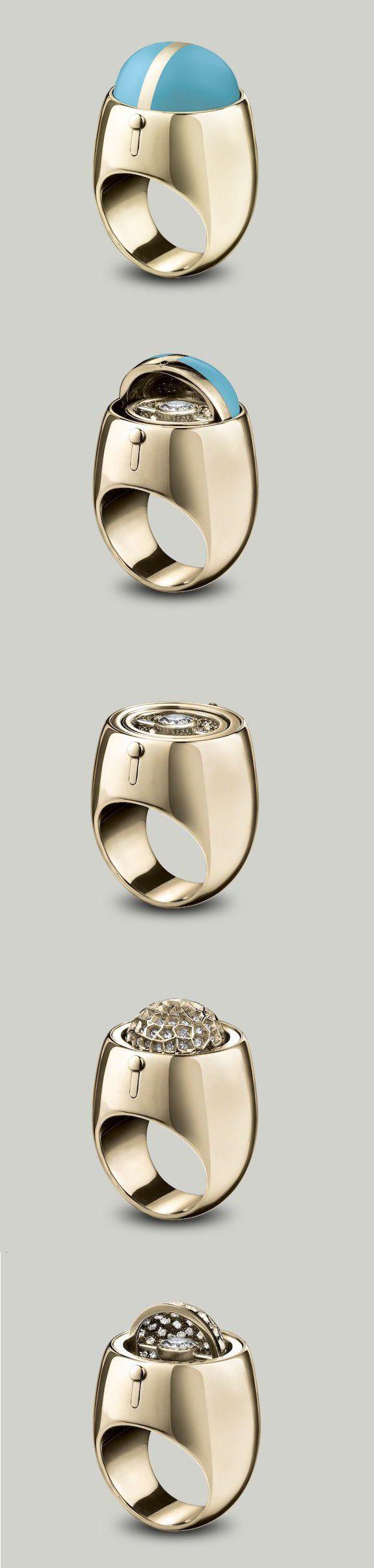 Solange Azagurypartridge Secret Diamond Ring An Enamel Dome Swivels To  Reveal A Brilliant Cut