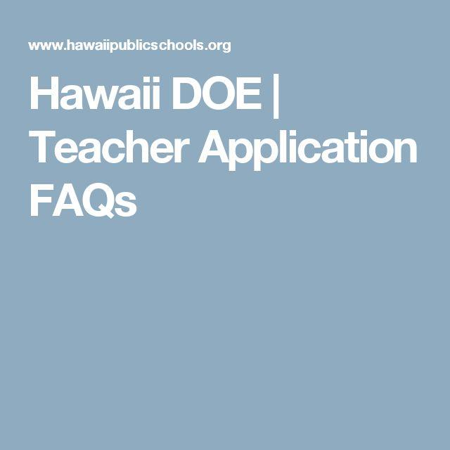 Hawaii DOE | Teacher Application FAQs