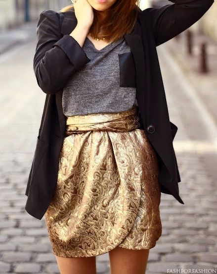 Blazer and metallic skirt