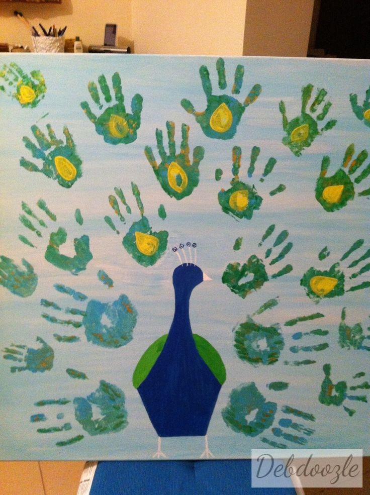 Debdoozle: Hands Down! Family Hand Prints Peacock Painting
