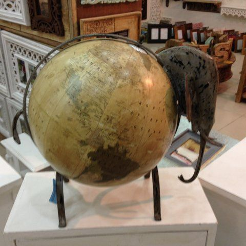 Yellow shaded globe with Elephant head. How unique!    To purchase or enquire email us: info@handmadeworld.in or call us: +91 9899440144 (India)