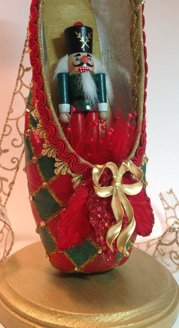 Nutcracker pointe shoe trimmed in gold. Harlequin ...