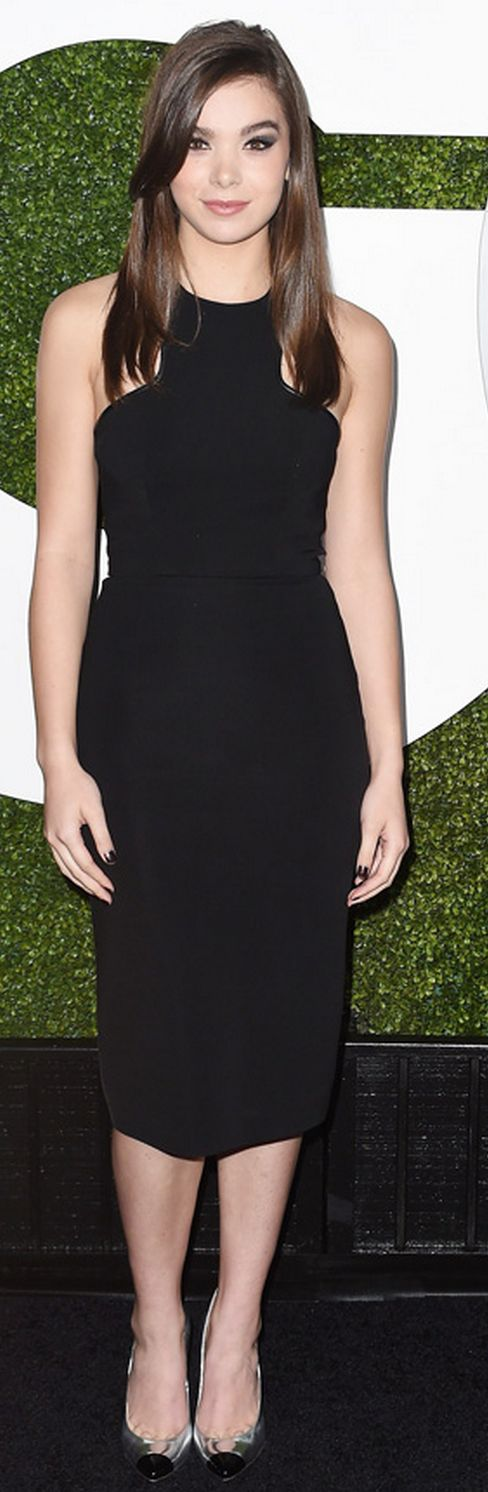 Who made Hailee Steinfeld's black dress and silver cap toe pumps?