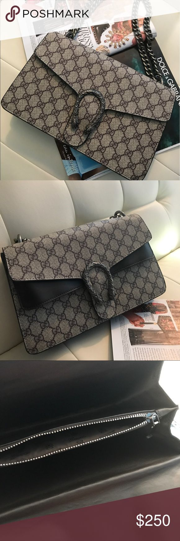 """Gucci bag Gucci Dionysus bag, it's a canvas like material, it doesn't have any suede on the flap. The bag is dark brown,with a gun metal chain and has ceasing on the inside of the flap. Crossbody/ preloved only once❤️ btw dust bag or controller number not included. """"Price reflects! Bags Crossbody Bags"""