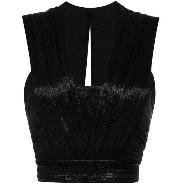 Isabel Marant Lame Larisse Top In Black ($750) ❤ liked on Polyvore featuring tops, shirts, crop tops, isabel marant, shirt top, no sleeve shirt, deep v neck crop top, sleeveless crop top and cut-out crop tops