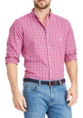 Chaps Men's Plaid Cotton-Blend Shirt - Pink - 2Xl