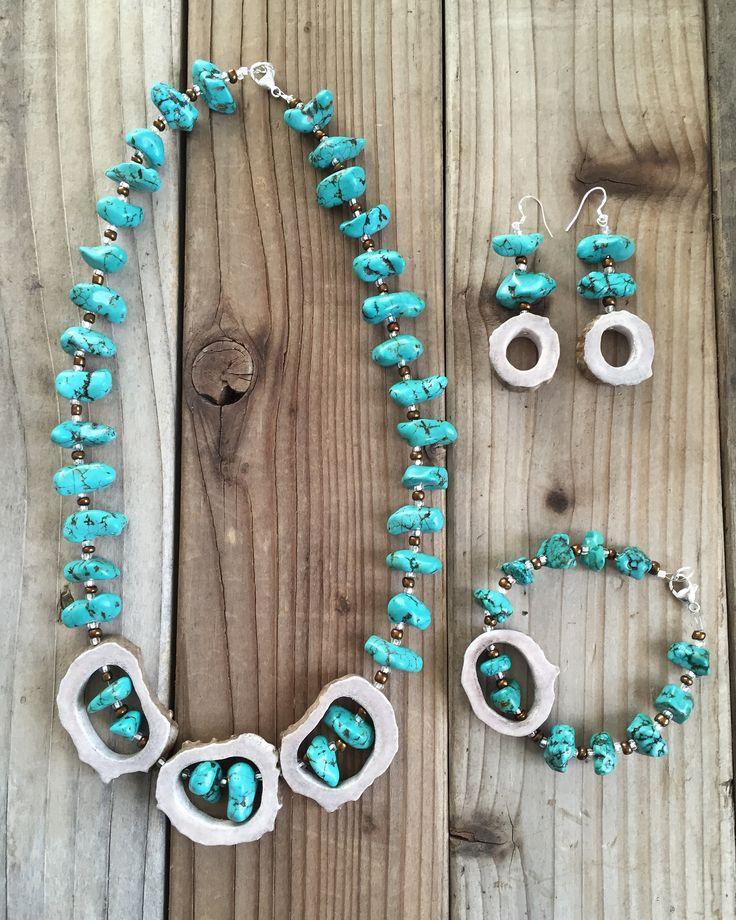 CUSTOM antler jewelry set. antler necklace. antler earrings. antler bracelet. tinedesignsbymindi.etsy.com