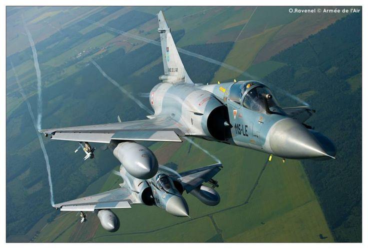 """French Armée de l'Air Dassault Mirage 2000s of l'Escadron de Chasse 2/5 """"Ile de France"""", who operate both 2000Bs  2000Cs from Base Aérienne 115 at orange."""