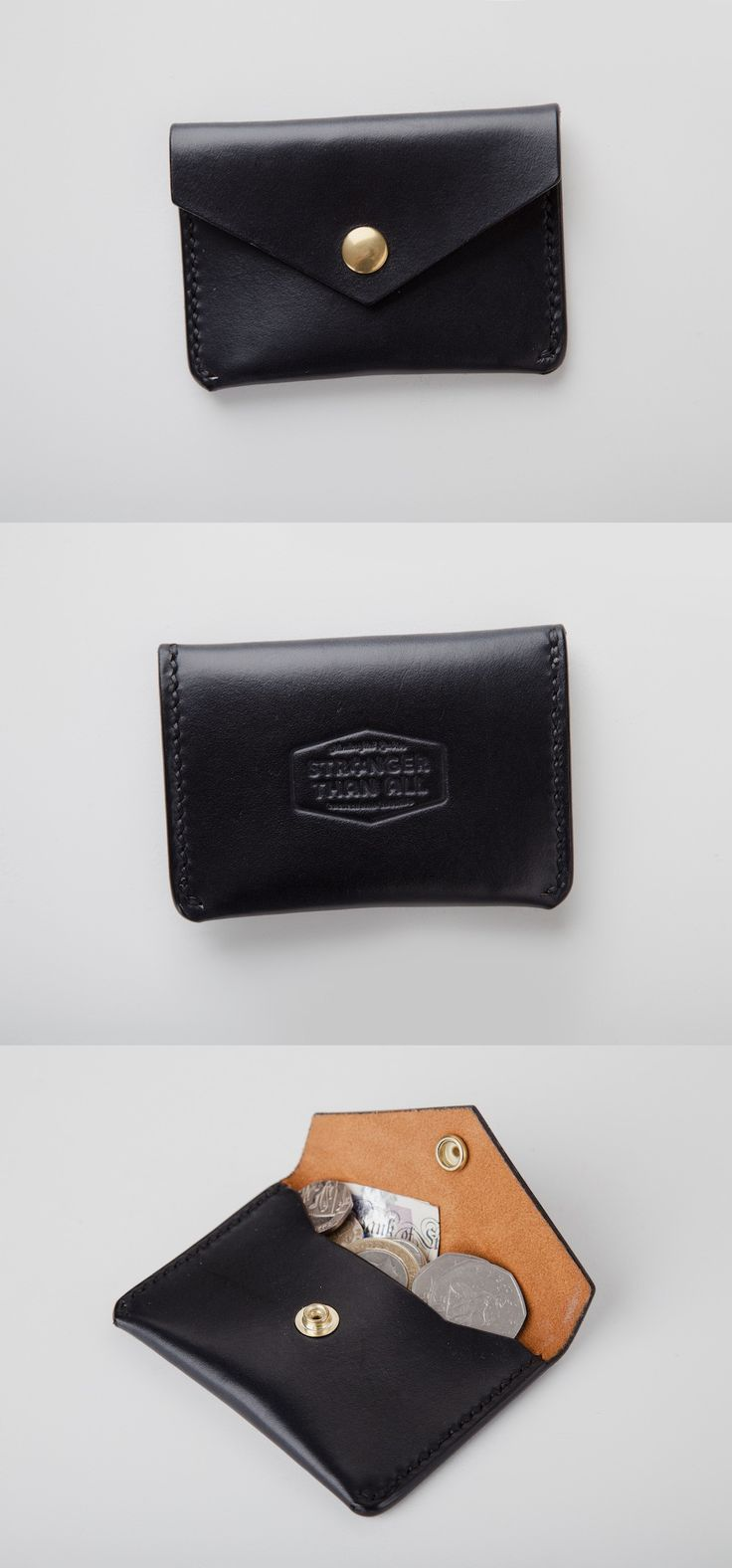Handmade Black Leather Snap Wallet by Stronger Than All. #everydaycarry #EDC