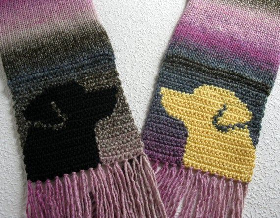 Labrador Dog Scarf Brown And Purple Stripes Crochet And Knitted