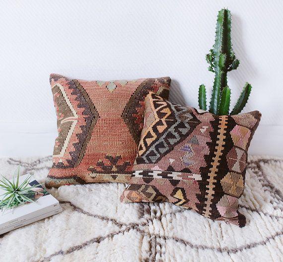 "Vintage Turkish Kilim Pillow Cover, 16"" x 16"", Bohemian Decorative Pillow, Kilim Cushion, Handwoven, Boho Pillow, Geometric Pattern"