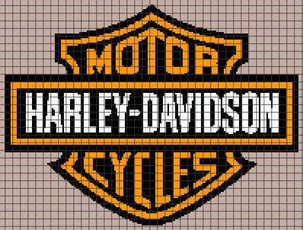 (4) Name: 'Crocheting : Harley Davidson Logo