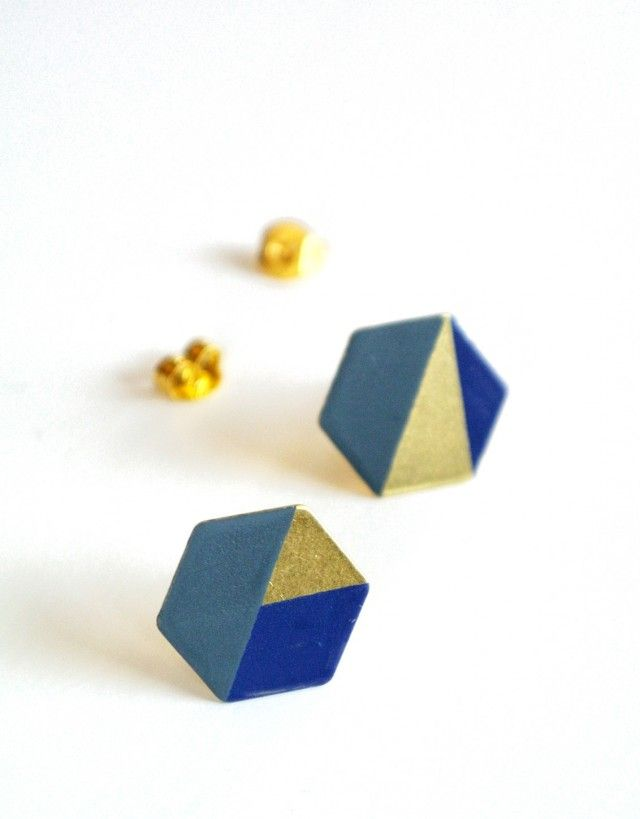 Hexagon - earrings, brass/darkblue/greyblue - New arrivals! #ochform #earrings #jewellery #jewelry #brass #blue #nordicdesign #nordicdesigncollective #nordic #scandinavian #designers