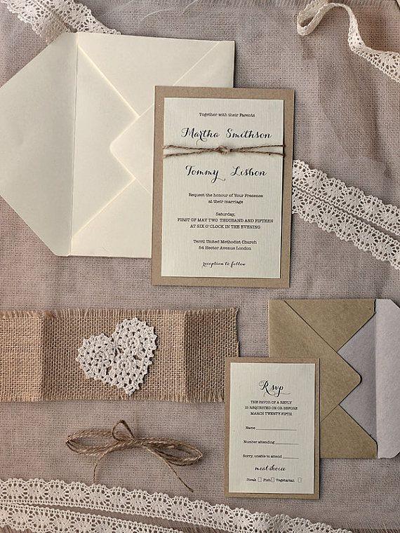 Custom listing 100 Rustic Wedding Invitation by forlovepolkadots