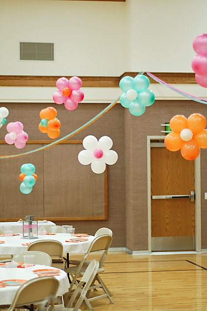balloon flowers throughout room