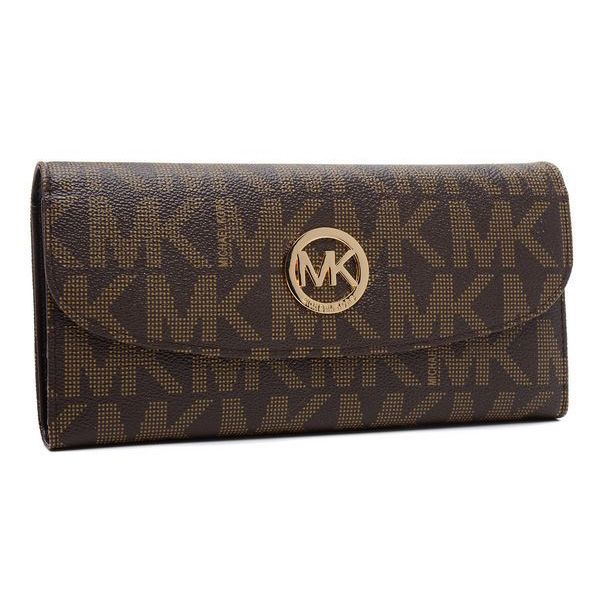 Fashionable And Cheap Michael Kors Logo Signature Large Coffee Wallets Lets Your Life Full Of Laugh And