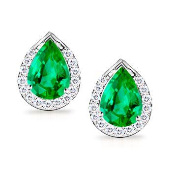Angara Platinum Pear Shaped Emerald Earrings Pga3J6F