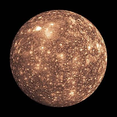 Jupiter Moons - Callisto discovered by Galileo Galilei in 1610 using a telescope. It is thought to have oceans of liquid water beneath its crust. about the size of Mercury, is the 3rd largest moon in the solar system. It is more heavily cratered than any other moon in the solar system. Callisto remains as it was when it formed, during the period of intense meteoroid bombardment that the entire solar system experienced