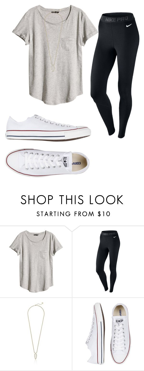 """""""Casual"""" by kaoriroberts ❤ liked on Polyvore featuring H&M, NIKE, Kendra Scott and Converse"""