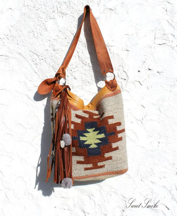Mexican carpet leather shopper bag tassel by SweetSmokebags