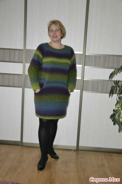 """Это мой первый пост в соцсетях. В первый раз я поучаствовала в совместнике по вязанию (Проект """" Свяжем вместе из Кауни"""" ))) Платье-туника с карманами спицами. Март)."""