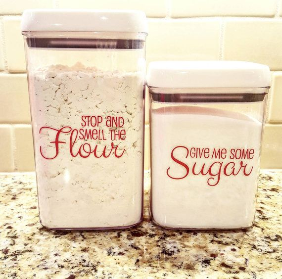 Sugar and Flour Canister Decals- Set of 2 Kitchen Decals