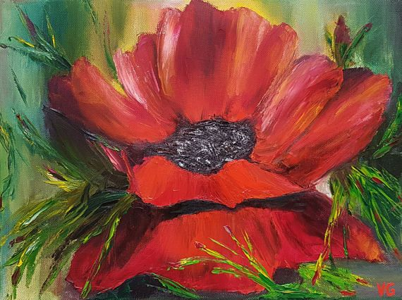 Original Oil Painting. Flower Painting. Floral Painting. Red