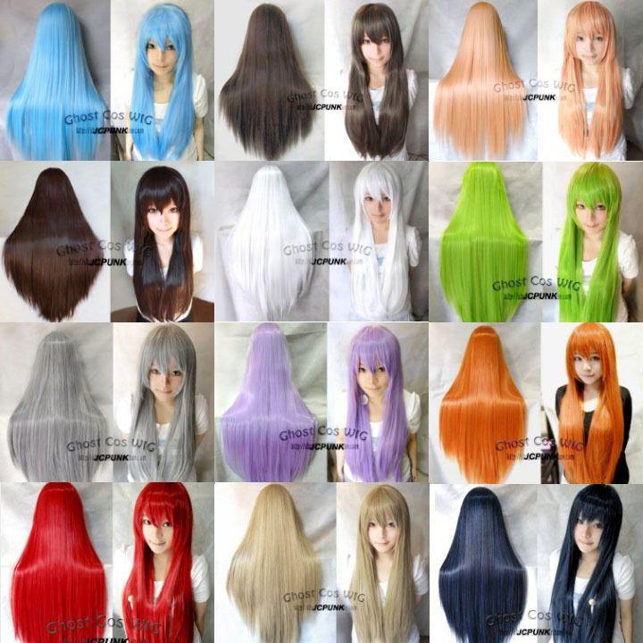 "Big sale! 32""/80cm Long Straight Cosplay Fashion Wig 20 Colors heat resistant fiber free wig cap ver.2 US $15.99"