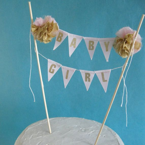 Cake Topper Pink Gold Baby Shower Baby Banner By Hartranftdesign, $31.00