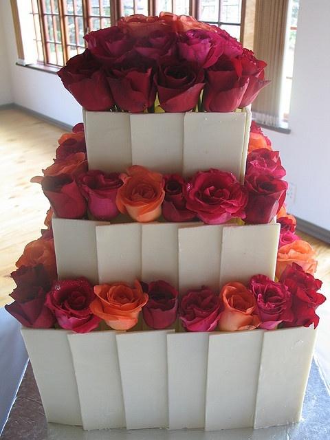 White Chocolate Tiles Wedding Cake