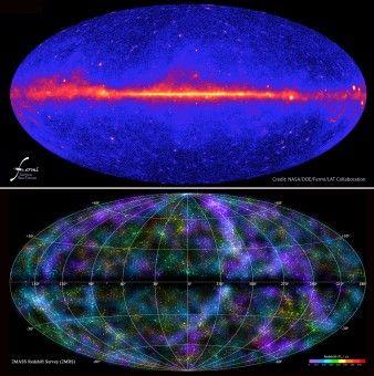In alto, il cielo gamma osservato da Fermi della NASA. In basso, una delle mappe a tutto cielo della survey 2MASS - Vedere la materia oscura. È il sogno di migliaia di fisici e astronomi. I telescopi per le alte energie, in orbita al di là dell'atmosfera, sperano d'intercettare tracce della sua esistenza. Tracce indirette, d'accordo, ma – ed è questo il punto cruciale – dovute a interazioni non gravitazionali. Ma cosa hanno visto? Proviamo per un istante a immagine la materia oscura come una…