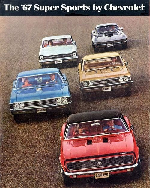 Chevy 1967 Super Sport lineup. #Chevyclassiccars
