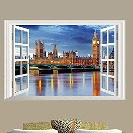 "Amazon.com: Dnven (24""w X 16""h) 3D Full Colour High Definition Fishing Village Night Scenery False Faux Window Frame Window Mural Vinyl Bedroom Living Room Playroom Wall Decals Stickers: Home & Kitchen"
