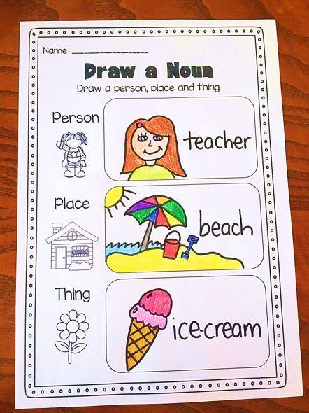 Noun Printable Worksheet. Huge Noun Pack for Kindergarten, First Grade and Second Grade.The pack covers common nouns, proper nouns, concrete nouns, abstract nouns, singular nouns, plural nouns, irregular plural nouns and pronouns.