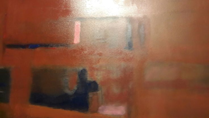 oleo, las paredes de fierro oxidados por el tiempo, 120 x 140cm