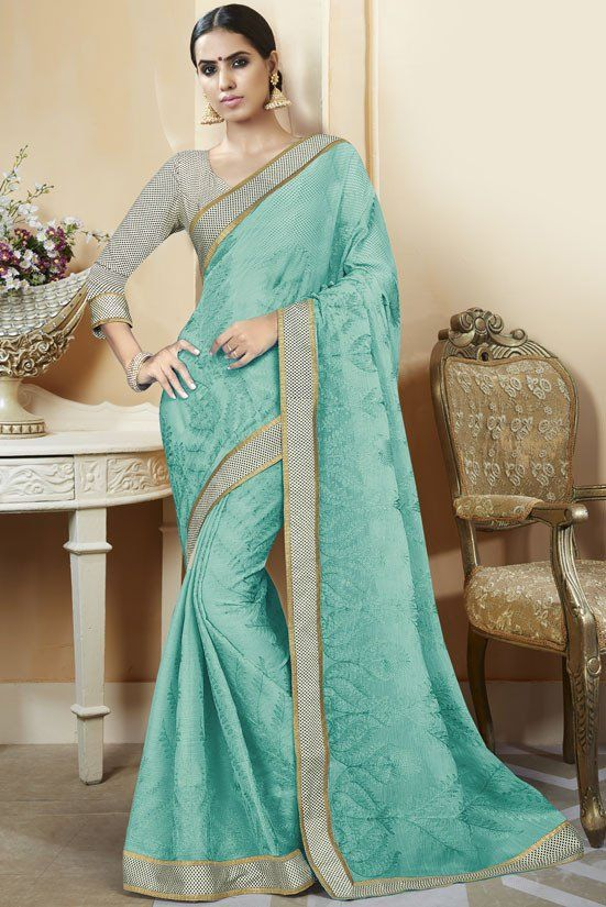 Mint Green Chiffon Saree